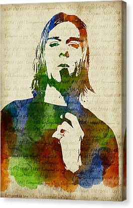 Kurt Cobain Watercolor Canvas Print by Mihaela Pater