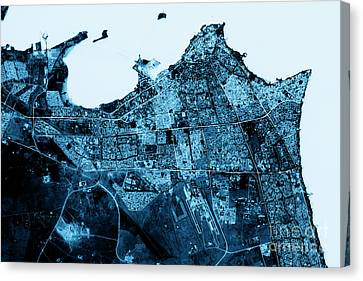 Kuwait City Abstract City Map Top View Dark Canvas Print