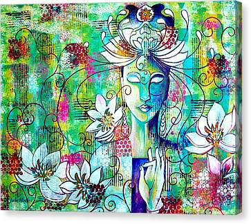Canvas Print featuring the painting Kwan Yin by Julie Hoyle