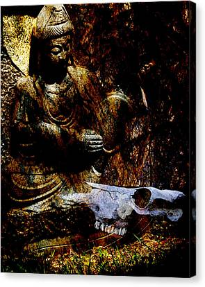 Kwan Yin Meditates Canvas Print by Ann Tracy