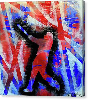 Canvas Print featuring the painting Kyle Schwarber - #letsgo by Melissa Goodrich