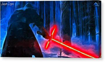 Swords Canvas Print - Kylo Ren In The Forest by Leonardo Digenio