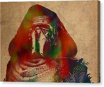 Kylo Ren Watercolor Portrait On Old Canvas Canvas Print by Design Turnpike