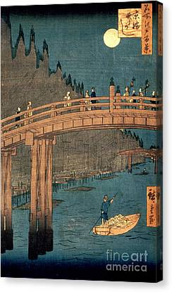 Kyoto Bridge By Moonlight Canvas Print by Hiroshige