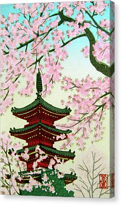 Kyoto Pagoda In Spring Cherry Blossoms Canvas Print