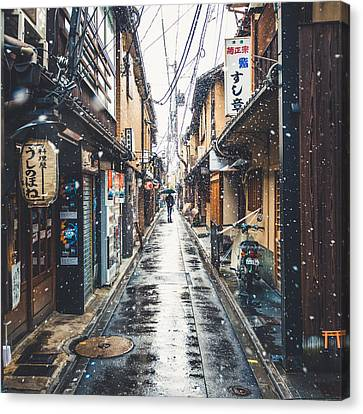Kyoto Snow Day Canvas Print by Cory Dewald