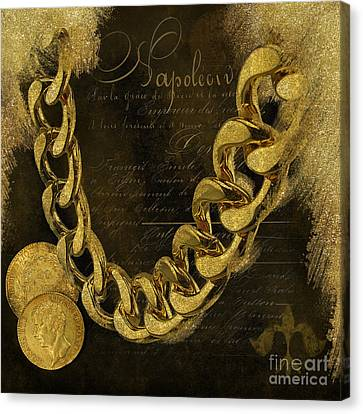 Napoleons Gold, Glitter, Brown, Monochrome Canvas Print by Tina Lavoie