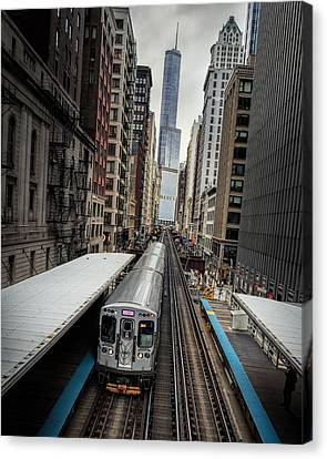 Fire Escape Canvas Print - L Train Station In Chicago by James Udall