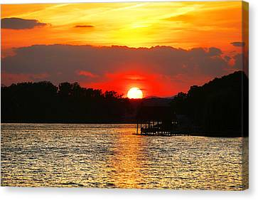 Bloody Red Sunset Smith Mountain Lake Canvas Print by The American Shutterbug Society