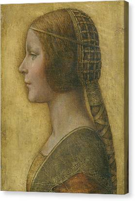 Woman Drawings Drawings Canvas Print - La Bella Principessa - 15th Century by Leonardo da Vinci