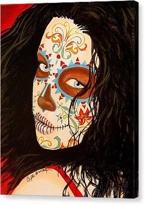 Portrait Of Woman Canvas Print - La Belleza En El Viento by Al  Molina