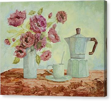 Still Lives Canvas Print - La Caffettiera E I Fiori Amaranto by Guido Borelli