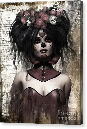 Doll Canvas Print - La Catrina by Shanina Conway