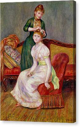 Hairstyle Canvas Print - La Coiffure by Renoir