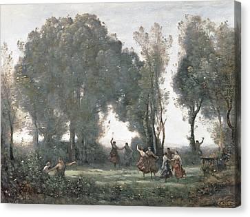 La Danse Des Nymphes Canvas Print by Jean Baptiste Camille Corot