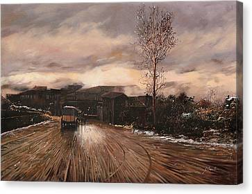 Cart Horse Canvas Print - La Diligenza by Guido Borelli