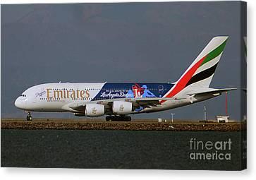 La Dodgers A380 Ready For Take-off At Sfo Canvas Print