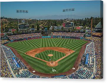 Canvas Print featuring the photograph La Dodgers Los Angeles California Baseball by David Haskett