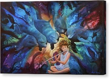 la flautista III Canvas Print by Angel Ortiz