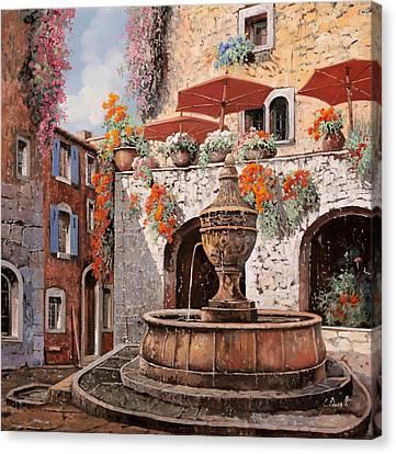 la fontana a St Paul de Vence Canvas Print by Guido Borelli