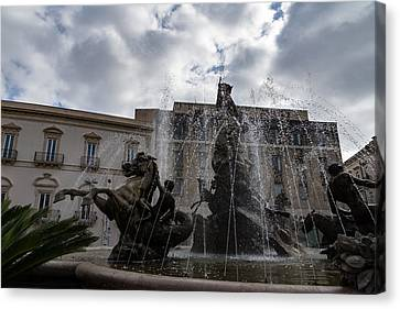 Turbulent Skies Canvas Print - La Fontana Di Diana - Fountain Of Diana Silver Jets And Sky Drama by Georgia Mizuleva
