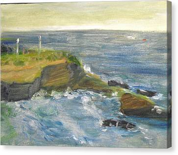 Canvas Print featuring the painting La Jolla Cove 002 by Jeremy McKay