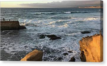La Jolla Orange And Viridian Canvas Print by Joe White