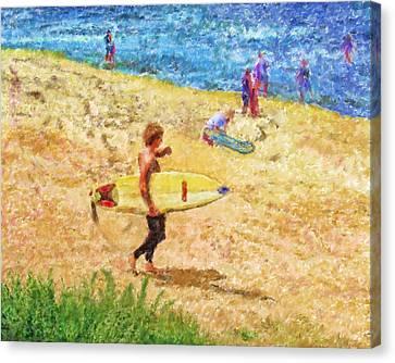 La Jolla Surfers Canvas Print by Marilyn Sholin