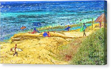 La Jolla Surfing Canvas Print by Marilyn Sholin