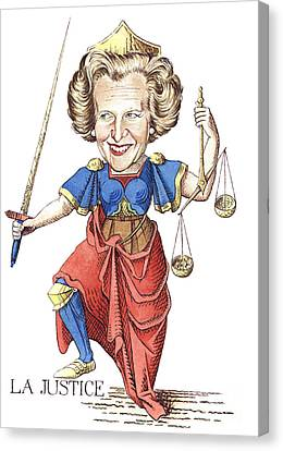 Margaret Thatcher Scales Justice Tarot Caricature Sword Canvas Print - La Justice by Debbie  Diamond