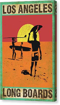 Canvas Print featuring the digital art La Long Boards by Greg Sharpe