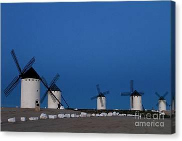 Canvas Print featuring the photograph La Mancha Windmills by Heiko Koehrer-Wagner
