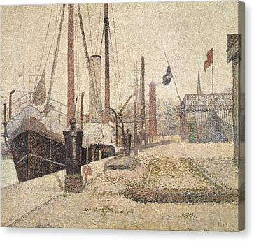 La Maria At Honfleur Canvas Print by Georges Pierre Seurat