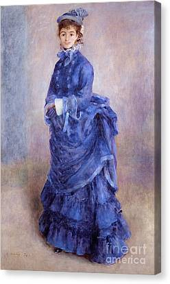 La Parisienne The Blue Lady  Canvas Print by Pierre Auguste Renoir
