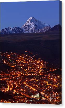 La Paz Suburbs And Mt Huayna Potosi Canvas Print by James Brunker