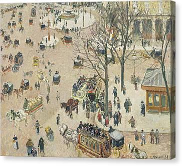 La Place Du Theatre Francais Canvas Print by Camille Pissarro