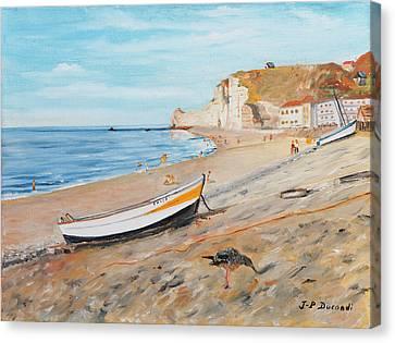 La Plage A Etretat - France Canvas Print