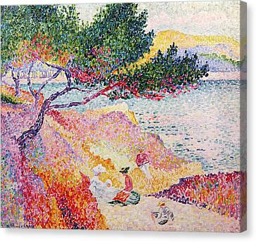 La Plage De Saint-clair Canvas Print by Henri-Edmond Cross
