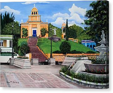 La Plaza De Moca Canvas Print by Luis F Rodriguez