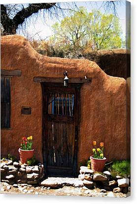 La Puerta Marron Vieja - The Old Brown Door Canvas Print by Kurt Van Wagner