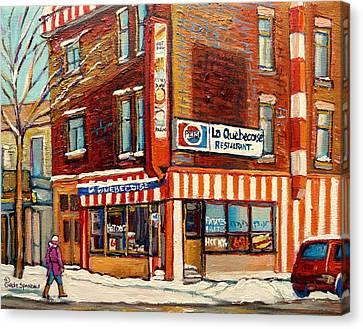 La Quebecoise Restaurant Deli Canvas Print by Carole Spandau