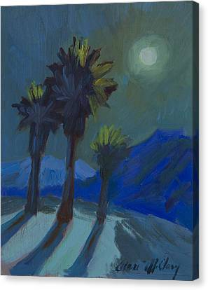 La Quinta Cove And Moonlight Canvas Print by Diane McClary