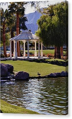 La Quinta Park Lake And Gazebo Canvas Print by Linda Dunn