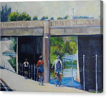La River Bikepath Canvas Print