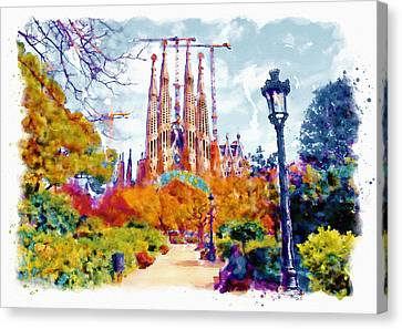 La Sagrada Familia - Park View Canvas Print by Marian Voicu