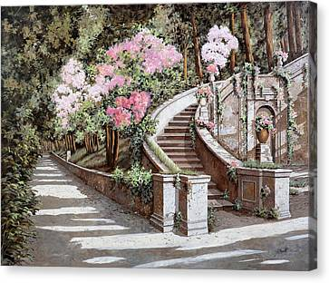 La Scalinata E I Fiori Rosa Canvas Print by Guido Borelli