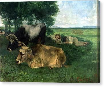 La Siesta Pendant La Saison Des Foins Canvas Print by Gustave Courbet