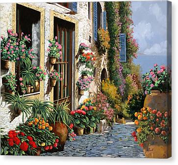 La Strada Del Lago Canvas Print by Guido Borelli