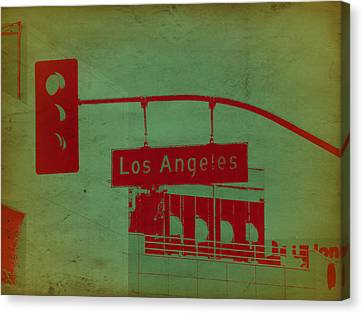 La Street Ligh Canvas Print by Naxart Studio