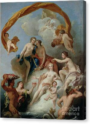La Toilette De Venus Canvas Print by Francois Lemoyne